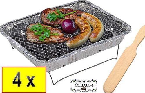 Grill Set BBQ Grillset Campinggrill Einweggrill inkl Grillbesteck Garten